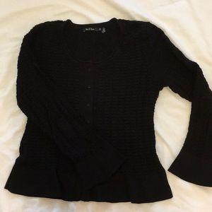 Nic+Zoe black cardigan, flared sleeve, size Med